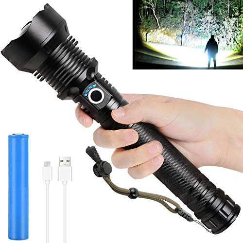 Rechargeable Tactical Flashlights 90000 High Lumens, Brightest Powerful LED Flashlight with Battery Included, High Lumens, Zoomable, 3 Light Modes, Handheld Flashlight for Outdoor Indoor