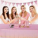 VAINECHAY 2pcs Plastik Party Tischdecken Tischdeko Geburtstag Rose Partytischdecke Hochzeit Weihnachten Ostern Weihnachten Braut Shower Indoor Outdoor, 108*54in (137*274CM) - 3