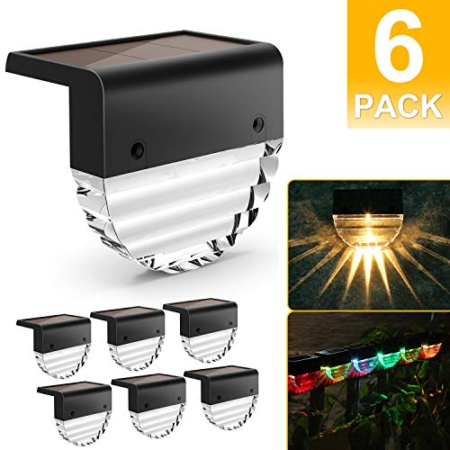 Solar Deck Lights, Solar Step Lights Outdoor Waterproof LED Solar Fence Lights for Patio, Stairs,Yard, Garden Pathway, Step and Fences, 10 Lumens, Warm White/Color Changing Lighting (6 Pack)