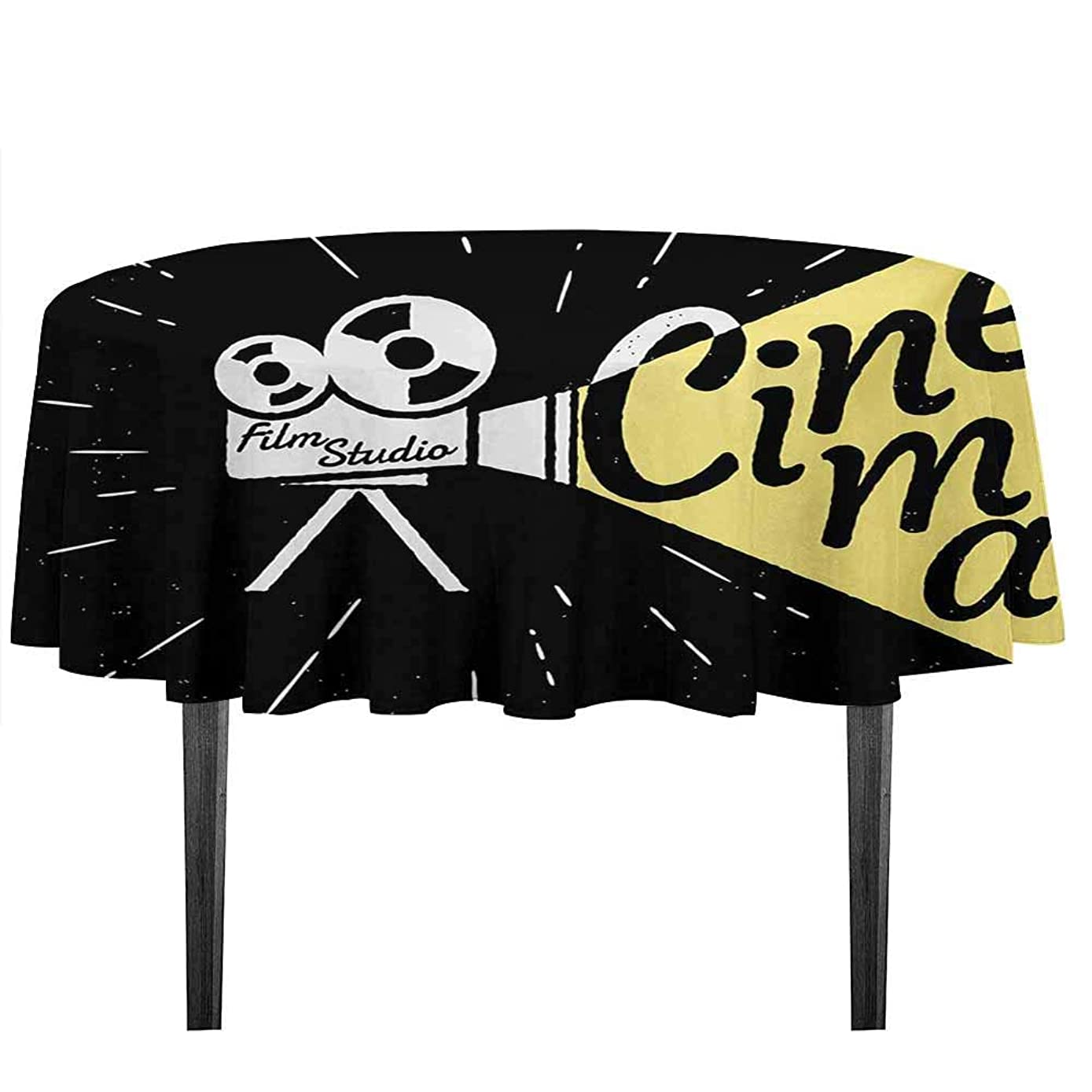 kangkaishi Movie Theater Detachable Washable Tablecloth Movie Projector Sketch with Grunge Cinema Lettering on Black Backdrop Great for Parties Festivals etc. D35.4 Inch Yellow Black White