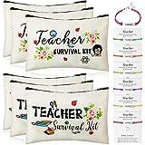 12 Pieces Teacher Appreciation Present Set, 6 Pieces Teacher Survival Kit Bag Makeup Pouch Pencil Bag, 6 Pieces Teacher Blessing Card Bracelet, Teacher Cosmetic Bag Kit for Teacher's Day