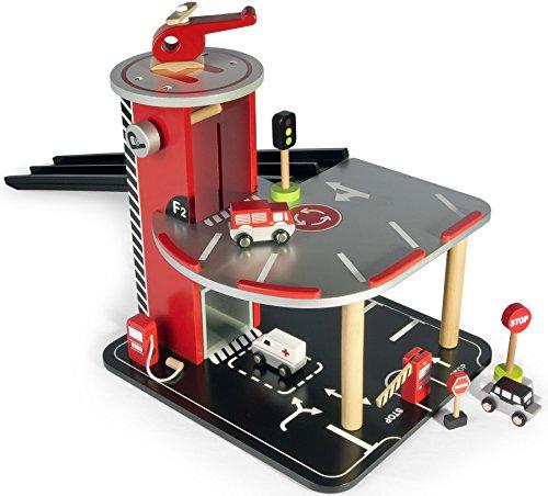 Leomark Garage avec ascenseur et voitures Circuit en bois Garage en bois Parking À...