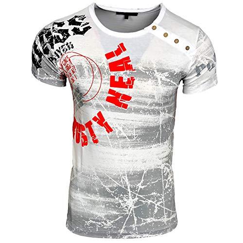 T-Shirt Plakativ Logo Print Oil Washed Batik Saka Maka Wow Kes LAN S - XXL 157, Farbe:Weiß, Größe:2XL