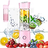 Portable Mini Blender,Personal Wireless Juicer Cup Smoothie Maker with 3D 6 Blades ,USB Rechargeable Fruit Juice Mixer 100W 480ML,with 4000mAh Rechargeable Battery Pink