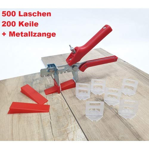 Fliesen Nivelliersystem Rot Fliesenstärke 3-12 mm Profi-Set 2 mm 500 Laschen 200 Keile + Zange -Verlegesystem Fliesenverlegung Fliesenverlegehilfe Fliesenverlegesystem Fliesennivelliersystem