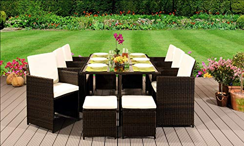 EIVD - Set di mobili da giardino in rattan, con sedie, divano, tavolo da esterno, 10 posti, colore: A)