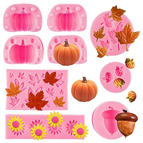 GROBRO7 9Pcs Thanksgiving Theme Silicone Mold Autumn 3D Mini Pumpkin Maple Leaf Sunflower Pine Cone...