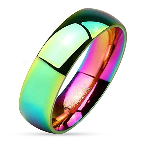 67 (21.3) Bungsa® Regenbogen Ring Edelstahl klassisch bunt für Damen & Herren 49-67 (Fingerring Partnerringe Verlobungsringe Trauringe Damenring Chirurgenstahl Frauen Männer)