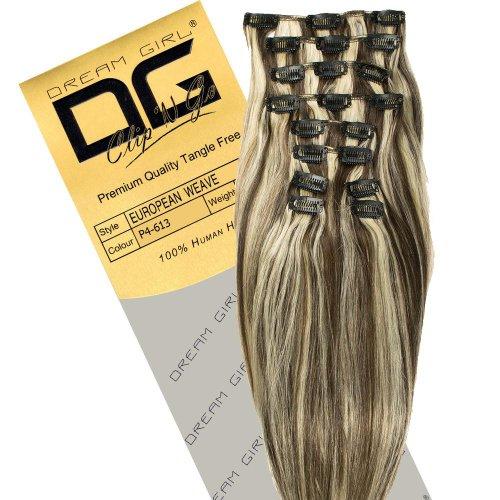 Dream Girl Extensions de cheveux à clipser Couleur 4/613 35 cm