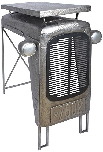 Esschert Design Traktortisch aus Metall, 100 x 67 x 104 cm, im Traktorkühler-Design, Deko-Tisch, Stehtisch, in grau