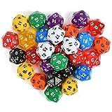 N\A Juego de 25 dados poliédricos de 20 lados, dados numerados con bolsa negra para DND RPG MTG y otros juegos de mesa