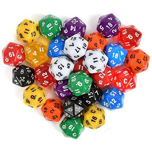 N\A Lot de 25 dés polyédriques à 20 faces, dés numérotés avec pochette noire pour DND RPG MTG et autres jeux de table