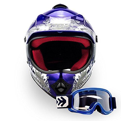 ARMOR Helmets AKC-49 Kinder-Cross-Helm, DOT Schnellverschluss Tasche, S (53-54cm), Blau