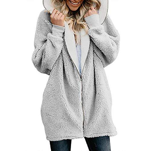 nobrand Winter verdicken warme Faux-Pelz-Mantel- Art- und Weisefrauen mit Kapuze weiche Vlies-Reißverschluss-Wolljacke-weibliche beiläufige Jacken Plus Größe