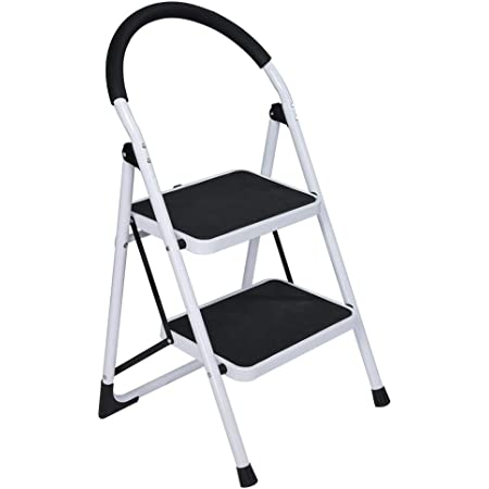 Folding 2 Step Ladder Heavy Duty Lightweight Step Stool Non-Slip With Wide Pedal