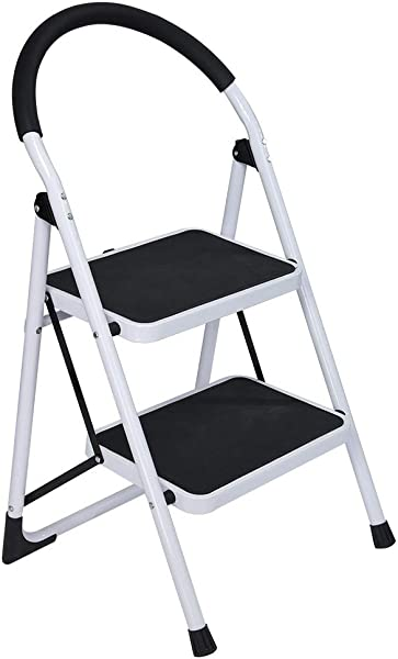 2 Step Ladder Folding Step Stool Ladder With Handgrip Sturdy Heavy Duty Step Ladder Anti Slip Solid And Wide Pedal Multi Use For Household And Office Portable Step Stool Steel 330lbs Black