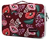 Canvaslove Wine Red Flower Conner Bottom Rebound Bubble Protection Waterproof Laptop Sleeve Case with Handle and Pockets for MacBook Pro Air 13 inch Surface Laptop Book 13.5 inch and 13.3 inch Laptop
