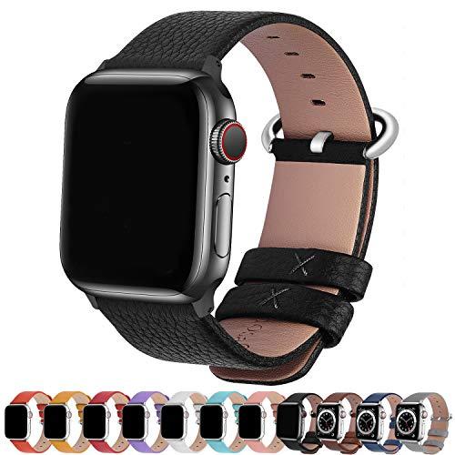 Fullmosa kompatibel mit Apple Watch Armband 44mm 42mm 40mm 38mm Series SE/6/5/4/3/2/1, Leder Ersatzarmband für iwatch original Band,Schwarz 42mm(Series 4 44mm)