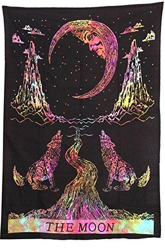 MY DREAM CARTS Tapiz Indio Individual Hippie Doble Tapiz Bohemio Tie Dye Lobo de la Luna para Colgar en la Pared Floral Home Decor Art Boho Colcha Dorm Yoga Mat Toalla de Playa Meditación