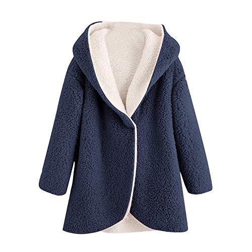 Abrigos Mujer Pelo Sintetico Nieve Fiesta Forro Polar Chaqueta Kimono Invierno Caliente Juveniles 2018 2019 (Azul Marino, 44)