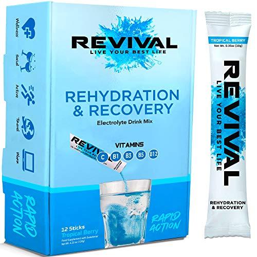 Revival Rapida Reidratazione, Elettroliti in Polvere - Supplemento alla Vitamina C ad Alta Resistenza, Bevanda Reidratante, Bustine di Elettroliti Eff