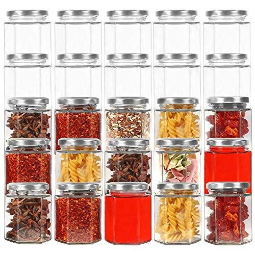 CycleMore 6oz Hexagon Glass Jars with Silver Lids Clear Glass Canning Jars Jam Jars Bottles for Jams Honey Wedding Favors Baby Foods Gifts and Craft DIY Spice Jars and MorePack of 25