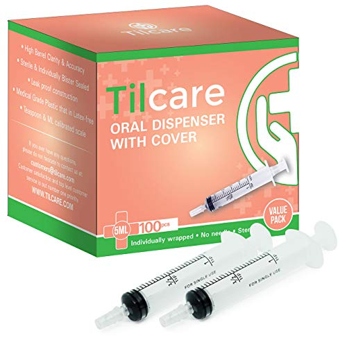 5ml Oral Dispenser Syringe with Cover 100 Pack by Tilcare - Sterile Plastic Medicine Droppers for Children, Pets & Adults – Latex-Free Medication Syringe Without Needle - Syringes for Glue and Epoxy