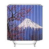 XXzhang Japan Mount Kirsche Duschvorhang Liner Polyester Badezimmer Duschvorhänge Schimmelwiderstandsfähig Waschbar-180x180cm
