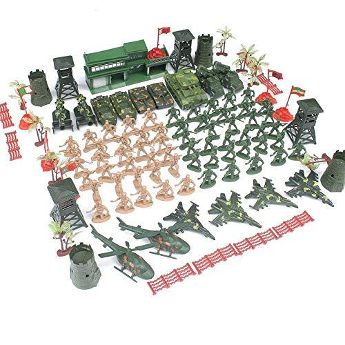 Kapokilly soldatini di plastica - Kit Soldatini Militari, Serbatoio, Aereo, Elicottero, Campo Di Battaglia Simulazione Action Figures, Giocattoli Per Bambini, 122 Pezzi
