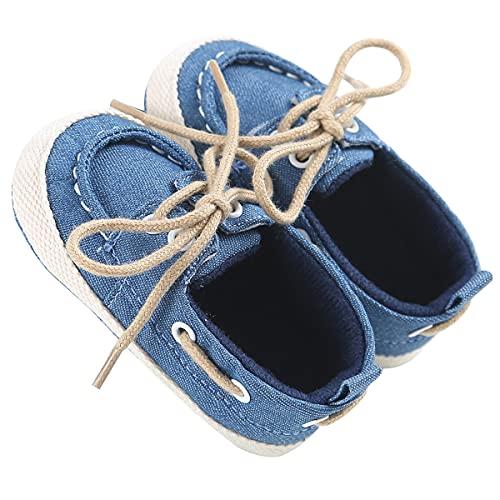 Chir Zapatillas de deporte de 0 a 18 meses para niños y niñas caminando con suela suave antideslizante, azul, 0-6 Meses