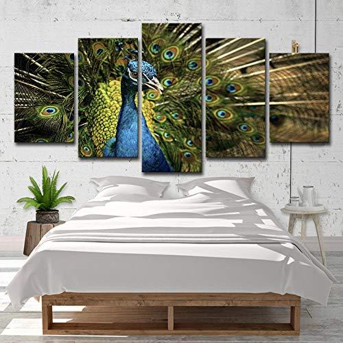 WENXIUF Bilder 5 Teil Wohnzimmer Wandbilder Drucke Auf Leinwand Schöne Tiergrüne Pfauöffnung Leinwandbild Schlafzimmer 150X80Cm Fertig Holzrahmen Fotoleinwand Bereit Zum Aufhängen