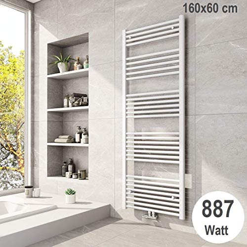 Meykoers Badheizkörper 1600x600mm Mittelanschluss 887 Watt Weiß, Handtuchtrockner Handtuchwärmer Heizung Heizkörper für Bad
