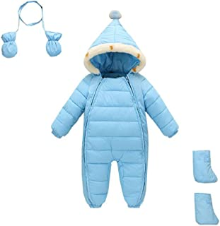 Zulaniu Baby Toddler Hooded Snowsuit Romper Snowsuit Pram Zipper Padding with Gloves Socks 3 Pieces
