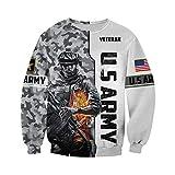 BSDASH Impresión 3D Traje del ejército Militar de EE. UU. Soldado Camo Pullover Moda Chándal Sudaderas con Cremallera Sudaderas Chaqueta Sweatshirts 6XL
