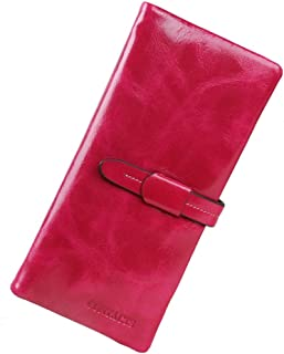 Leather Women's Wallet Leather Long Oil Wax Leather Wallet Casual Large Capacity Clutch Waterproof (Color : Pink, Size : S)