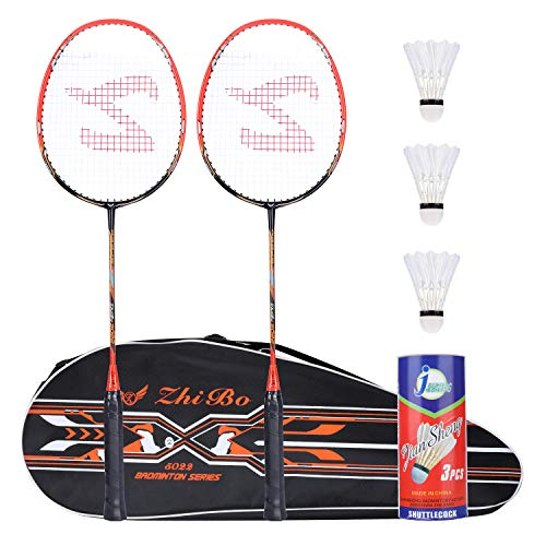 Badminton Racquet,Fostoy Badminton Racket Set-Professional Carbon Fiber Badminton Racket with 3 shuttlecocks and Carrying Bag-Perfect for Adults