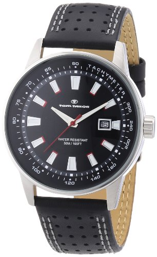 TOM TAILOR Herren-Armbanduhr XL Analog Quarz Leder 5411501