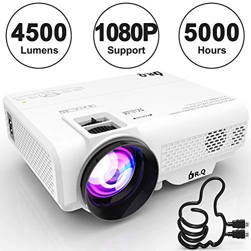 DR.Q Projector, L8 Mini Projector 4500 LUX, Video Projector Supports 1080P HD, Increased 90% Color Light Output & Lamp Life, Supports HDMI VGA AV USB TF Devices, Home Theater Projector, White.