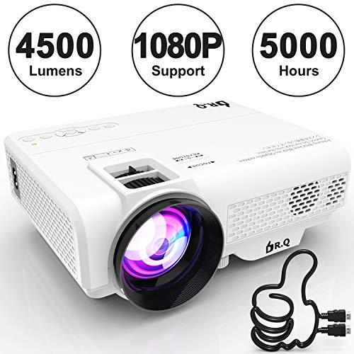 DR.Q Projektor, L8 Mini Projektor 4500 LUX, Video-Projektor unterstützt 1080P HD, erhöhte 90% Farblichtleistung & Lampenlebensdauer, unterstützt HDMI VGA AV USB TF-Geräte, Heimkino-Projektor, weiß