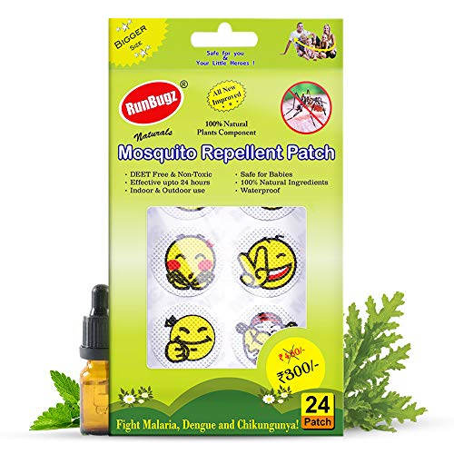 RunBugz Mosquito Repellent Patches for Babies, Smiley Patch, 24 Patches