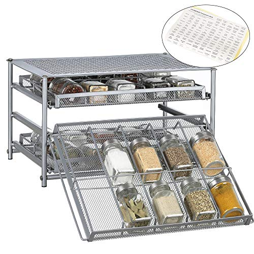 30 Bottle Spice Rack Organizer 3 Tier Spice Shelf Pull Out Spice Drawer for Kitchen Cabinet Pantry Counter - Silver