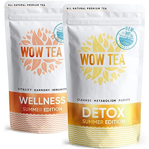 WOW TEA Estate Corpo Tisana Kit: Estate Detox & SlimFit Tè, Kit detox con 2 tisane per una perdita di peso naturale e ritenzione idrica   Tè a dieta ad azione rapida e potenziamento   300g, Made in EU