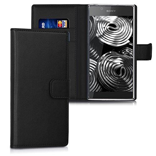 kwmobile Sony Xperia L1 Hülle - Kunstleder Wallet Case für Sony Xperia L1 mit Kartenfächern & Stand - Schwarz