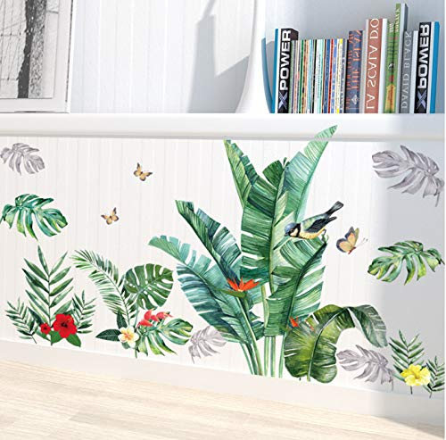 Pegatinas de pared de hojas de plátano verde para sala de estar, dormitorio, TV, sofá, fondo, calcomanías de pared DIY extraíbles, murales ecológicos