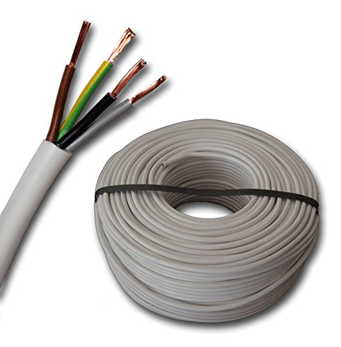 Kunststoff Schlauchleitung rund LED Kabel Leitung Gerätekabel H03VV-F 4x0,75 mm² (mm2) 4G0,75 - Farbe: weiß 10m