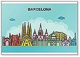 Barcelona Cityscape Skyline Imán para nevera con ilustración colorida