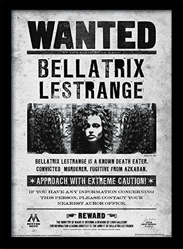 Pyramid International Harry Potter (Bellatrix Wanted) 30x40 cm gerahmter Druck, 250GSM PAPERWRAP MDF, Mehrfarbig, 44 x 33 x 4 cm