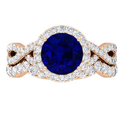 Juego de anillos de novia difusos de zafiro, piedras preciosas redondas de 3,39 quilates, solitario D-VSSI Moissanite 8 mm, anillo de compromiso catedral, 14K Oro rosa, Size:EU 70