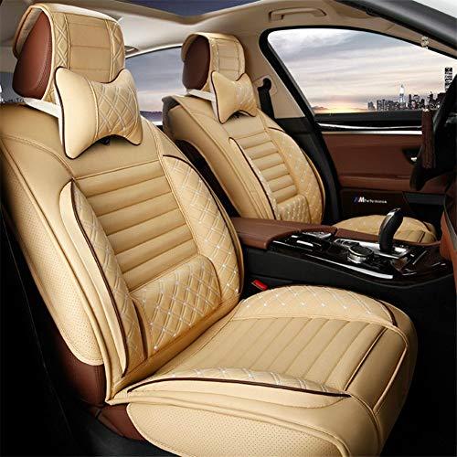 5 sièges voiture PU cuir réglable siège de voiture couvertures auto avant et arrière coussins de siège avec coussin de soutien à la taille fixe et 2 appuis-tête oreillers ajustement universel,Beige