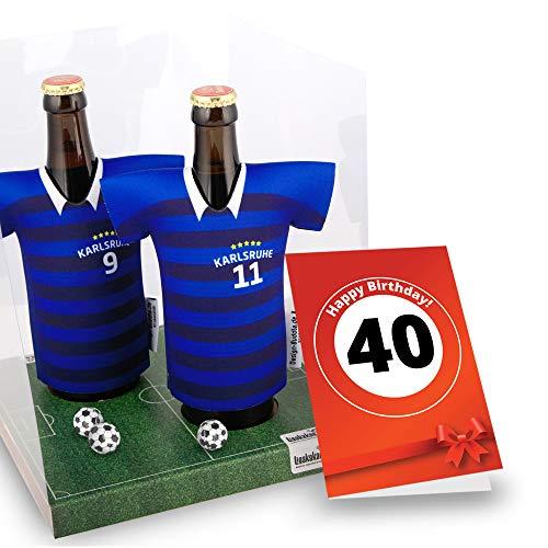 40. Geburtstag | Der Trikotkühler | Das Männergeschenk für Karlsruhe-Fans | Langlebige Geschenkidee Ehe-Mann Freund Vater Geburtstag | Bier-Flaschenkühler by Ligakakao